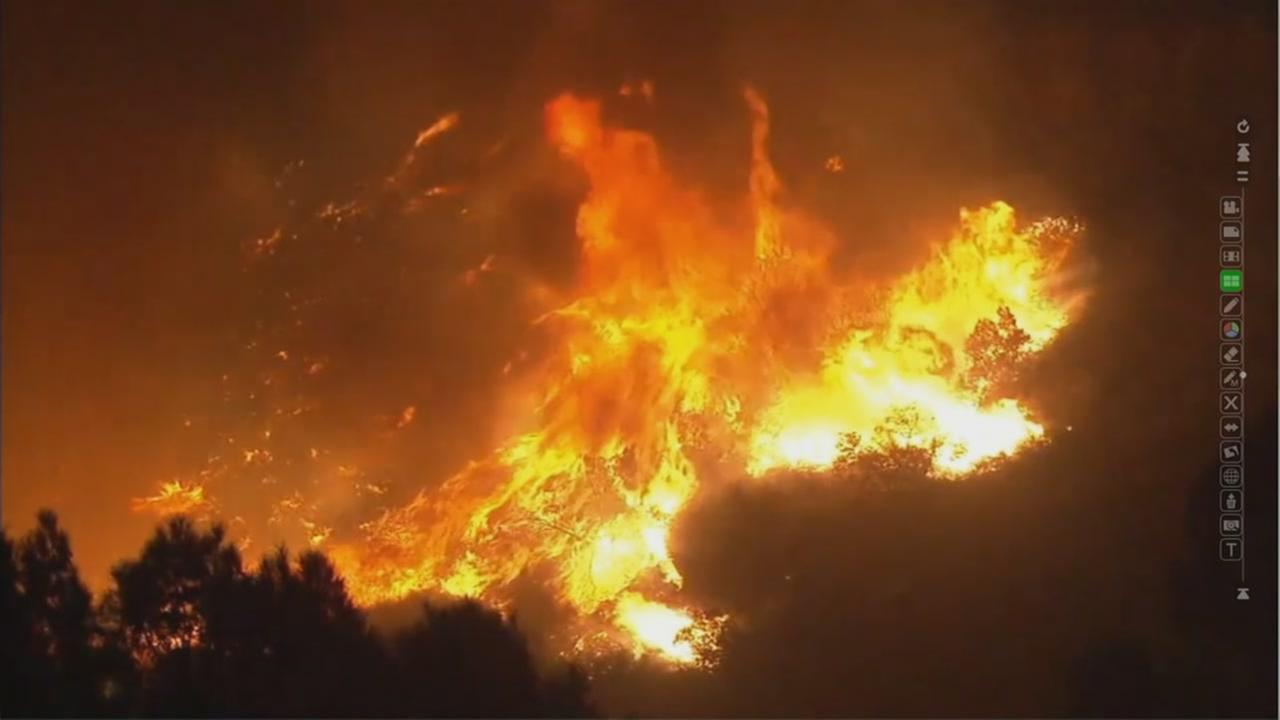 Fire rages in Southern California on Monday, Dec. 4, 2017.