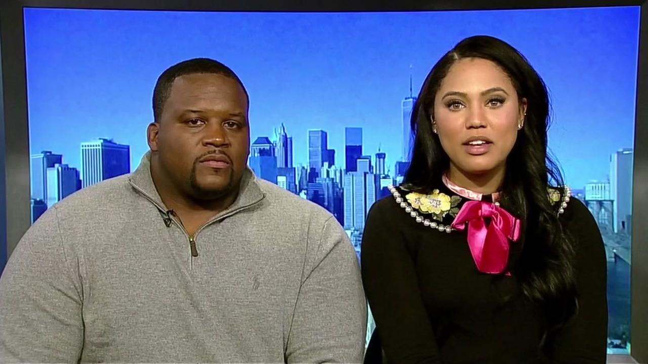 Ayesha Curry and San Francisco 49ers great Anthony Adams is seen in this undated image.