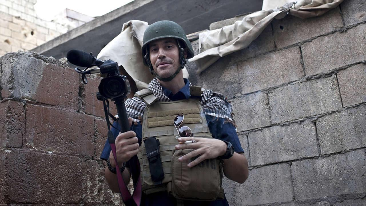 In this November 2012, file photo, posted on the website freejamesfoley.org, shows American journalist James Foley in Aleppo, Syria.(AP Photo/freejamesfoley.org, Nicole Tung, File)