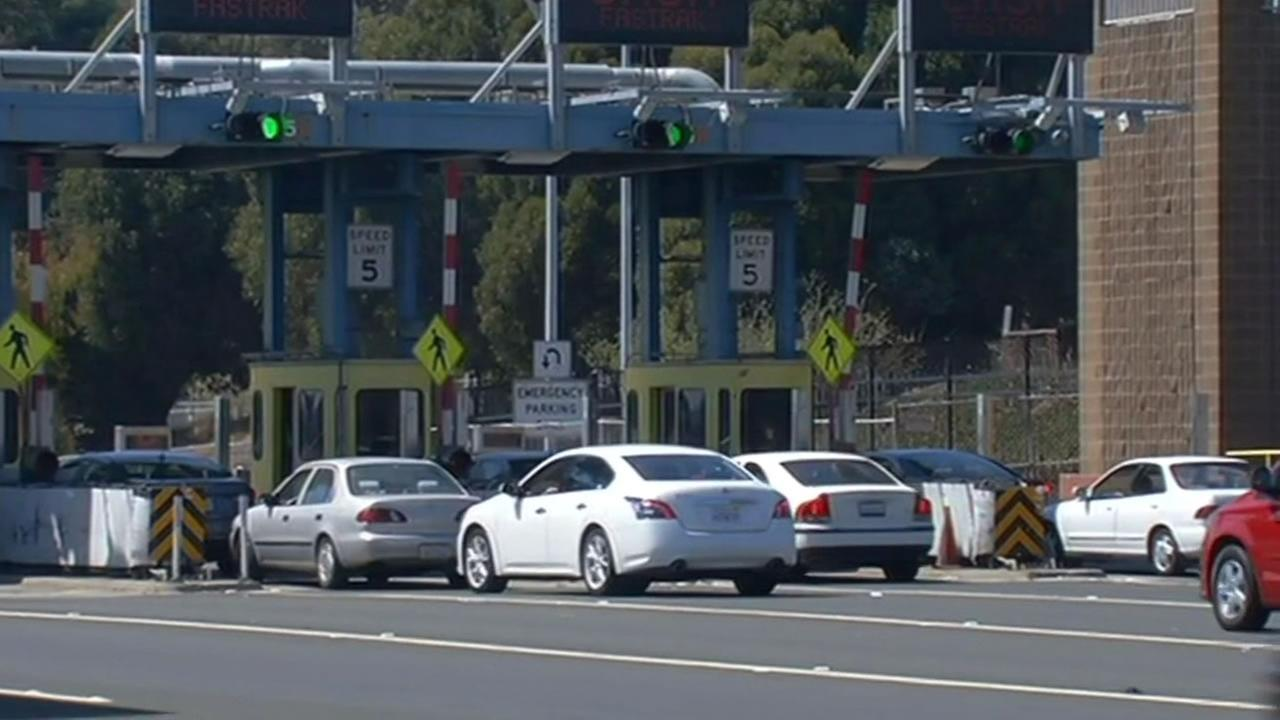 Traffic was backed up at the toll plaza of the Richmond San Rafael Bridge.