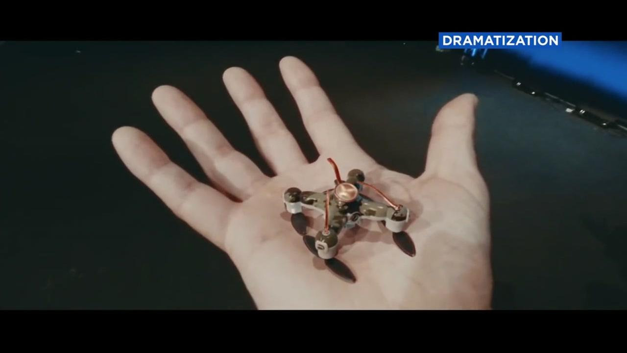 A small, killer drone appears in a video dramatization.