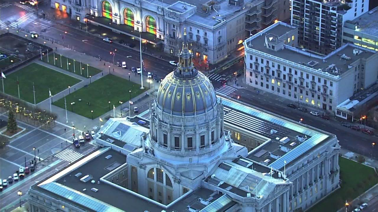San Francisco City Hall appears on Tuesday, Dec. 12, 2017.