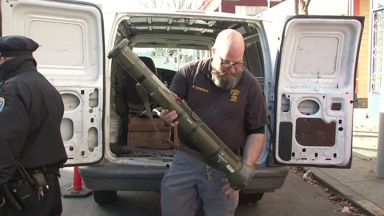 A bazooka is seen during a gun buyback in San Francisco on Saturday, December 16, 2017.