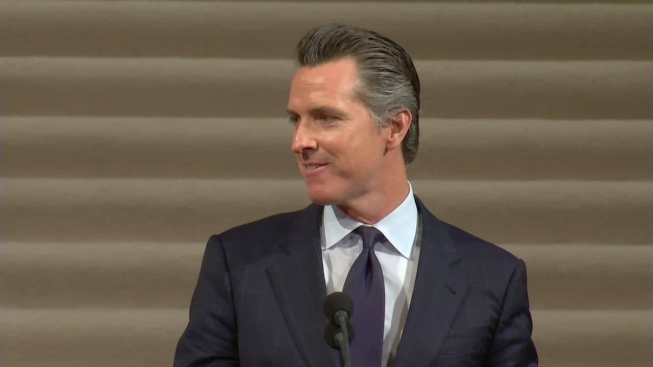 Lieutenant Governor of California Gavin Newsom spoke Sunday, Dec. 17, 2017 at the memorial service for Mayor Ed Lee at San Francisco City Hall.