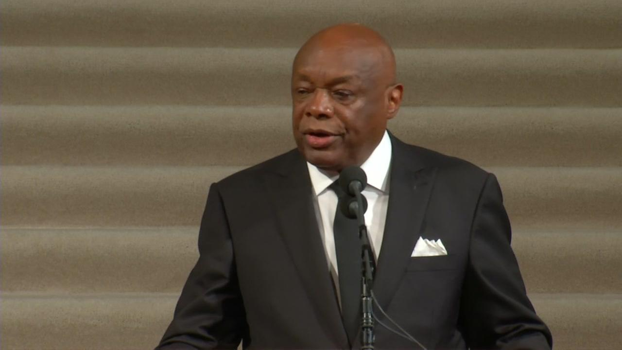 Former mayor of San Francisco Willie Brown spoke Sunday, Dec. 17, 2017, at the memorial service for Mayor Ed Lee at San Francisco City Hall.