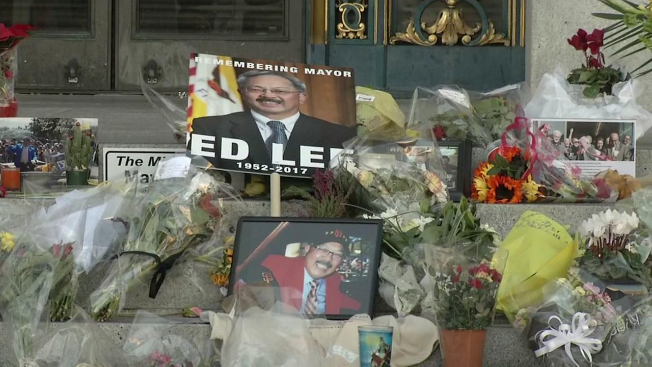 A memorial is seen outside San Francisco City Hall for Mayor Ed Lee on Sunday, Dec. 17, 2017.