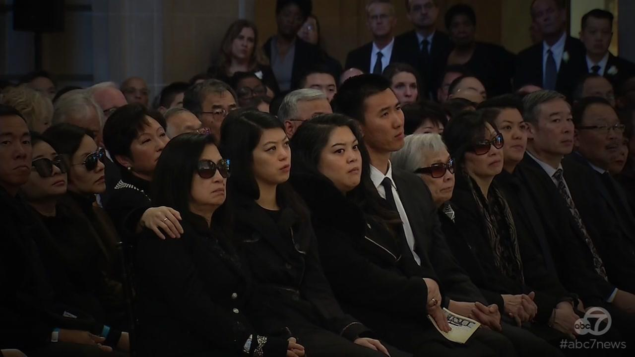 The family of Ed Lee is seen during a memorial in City Hall in San Francisco, Calif. on Sunday, Dec. 17, 2017.