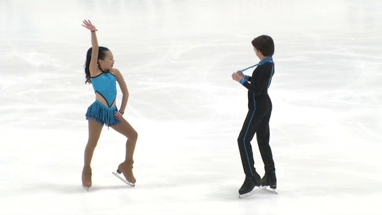 Two figure skaters compete in San Jose, Calif. on Friday, Dec. 29, 2017.
