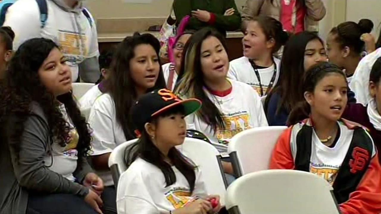 Students at San Francisco City Academy get ready to attend their first San Francisco Giants game at AT&T Park.