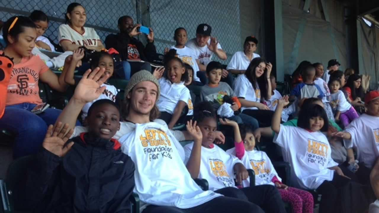 Students at San Francisco City Academy attend their first Giants game courtesy of the owner of Lefty ODouls restaurant.