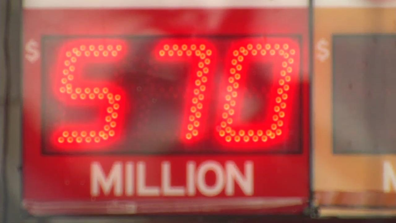 A Powerball jackpot sign is seen on Saturday, Jan. 6, 2018 in Daly City, Calif.