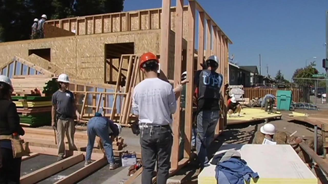 construction workers rebuilding Napa earthquake victims home