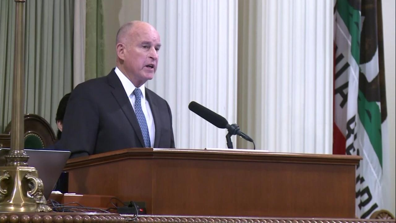 California Governor Jerry Brown is seen giving a State of the State speech in Sacramento on Thursday, Jan. 25, 2018.