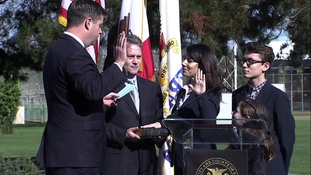 Interim San Francisco Mayor is seen swearing in his replacement for the District 2 supervisor seat on Tuesday, Jan. 30, 2018.