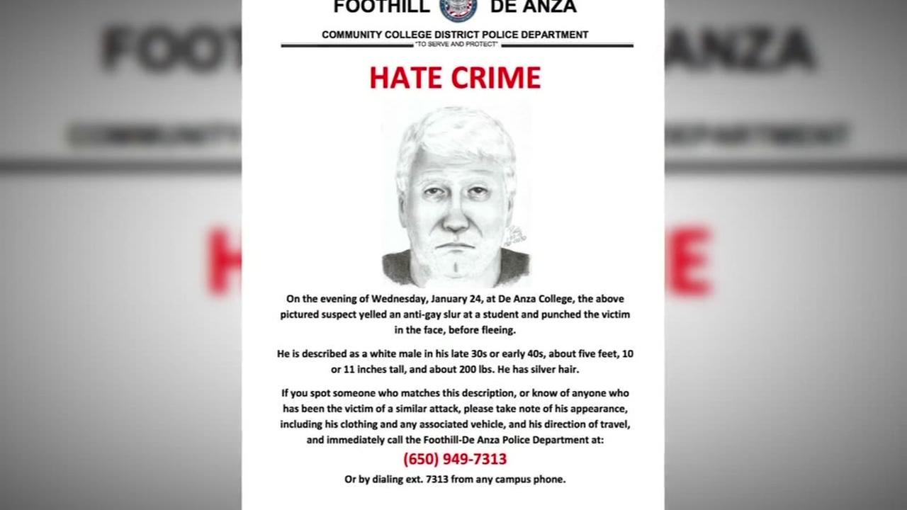 A flyer for a suspect in a hate crime on the De Anza College campus is seen in this undated image.
