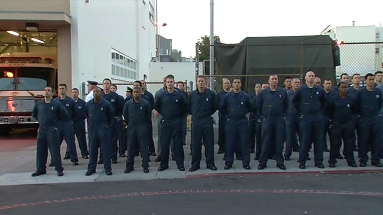 San Francisco firefighters honor victims of September 11th attacks.