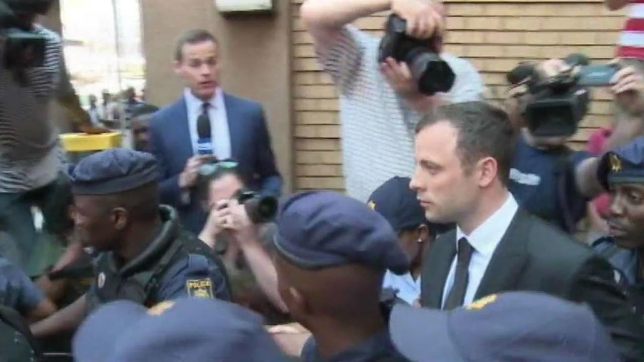 Oscar Pistorius leaving the courthouse.