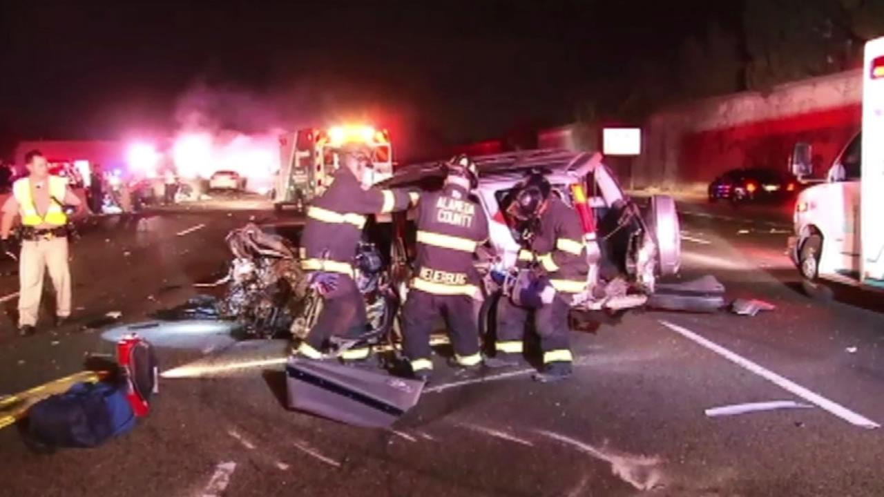 Emergency responders help victims of a horrific crash in I-800 in San Leandro.