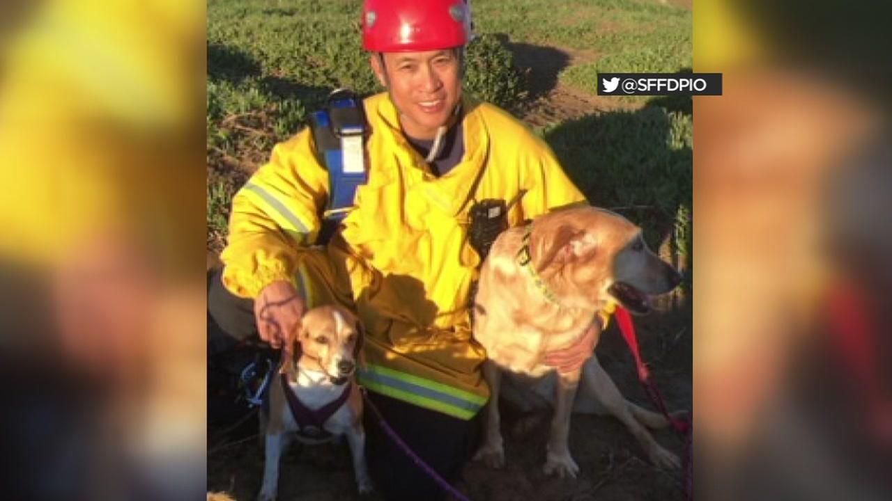 Crews rescued dogs at San Franciscos Fort Funston on Friday, Feb. 16, 2018.