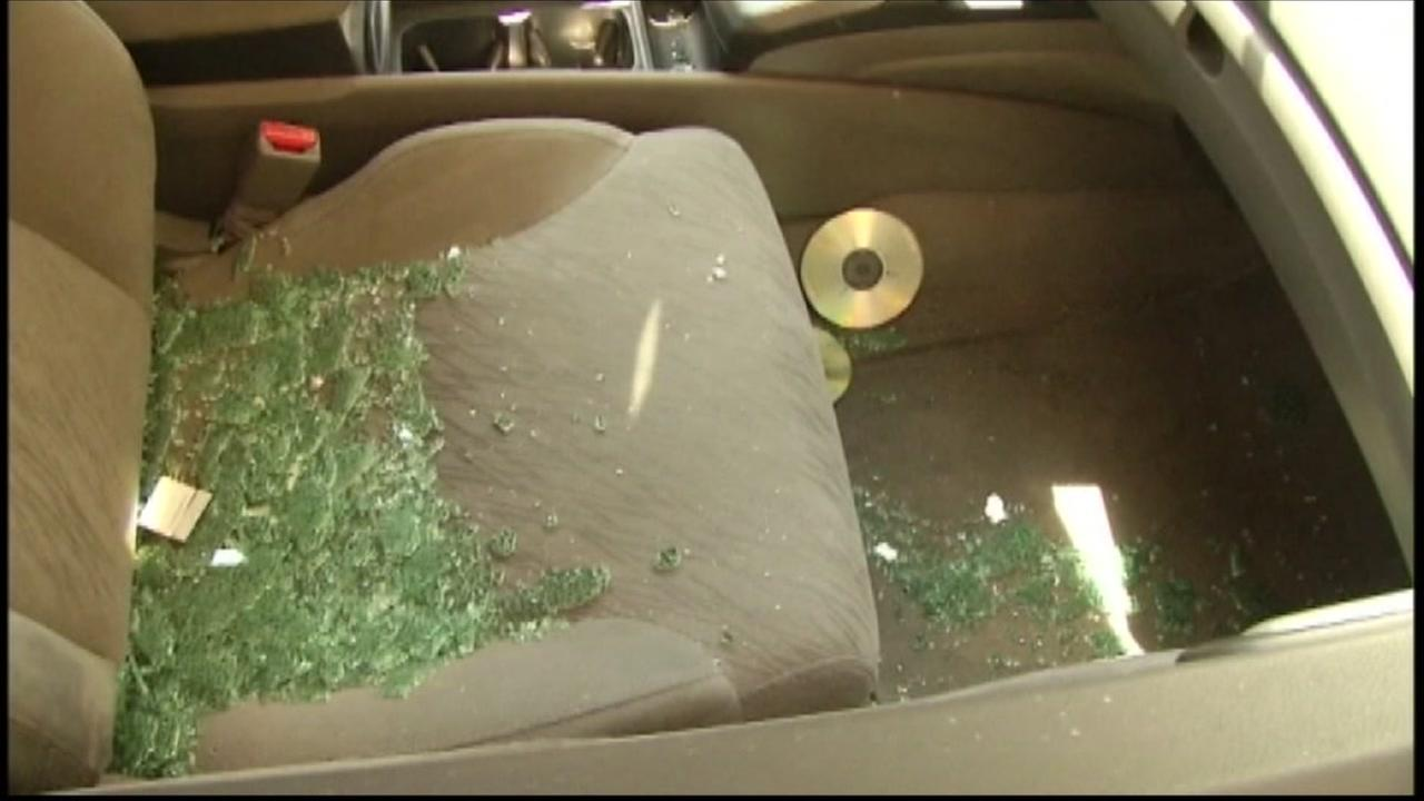 Broken glass is seen on a car seat in San Francisco in this undated image.
