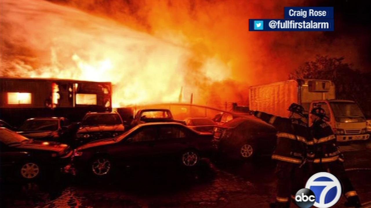 A fire broke out Tuesday morning at the Chualar Pallet Recycle on Maybury Road in San Jose.