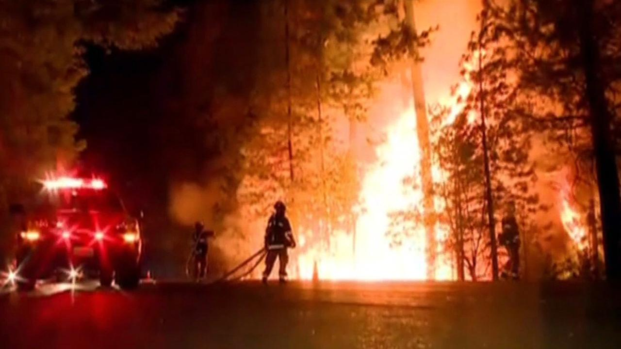 Fire burns near Hwy 50 in Pollock Pines.