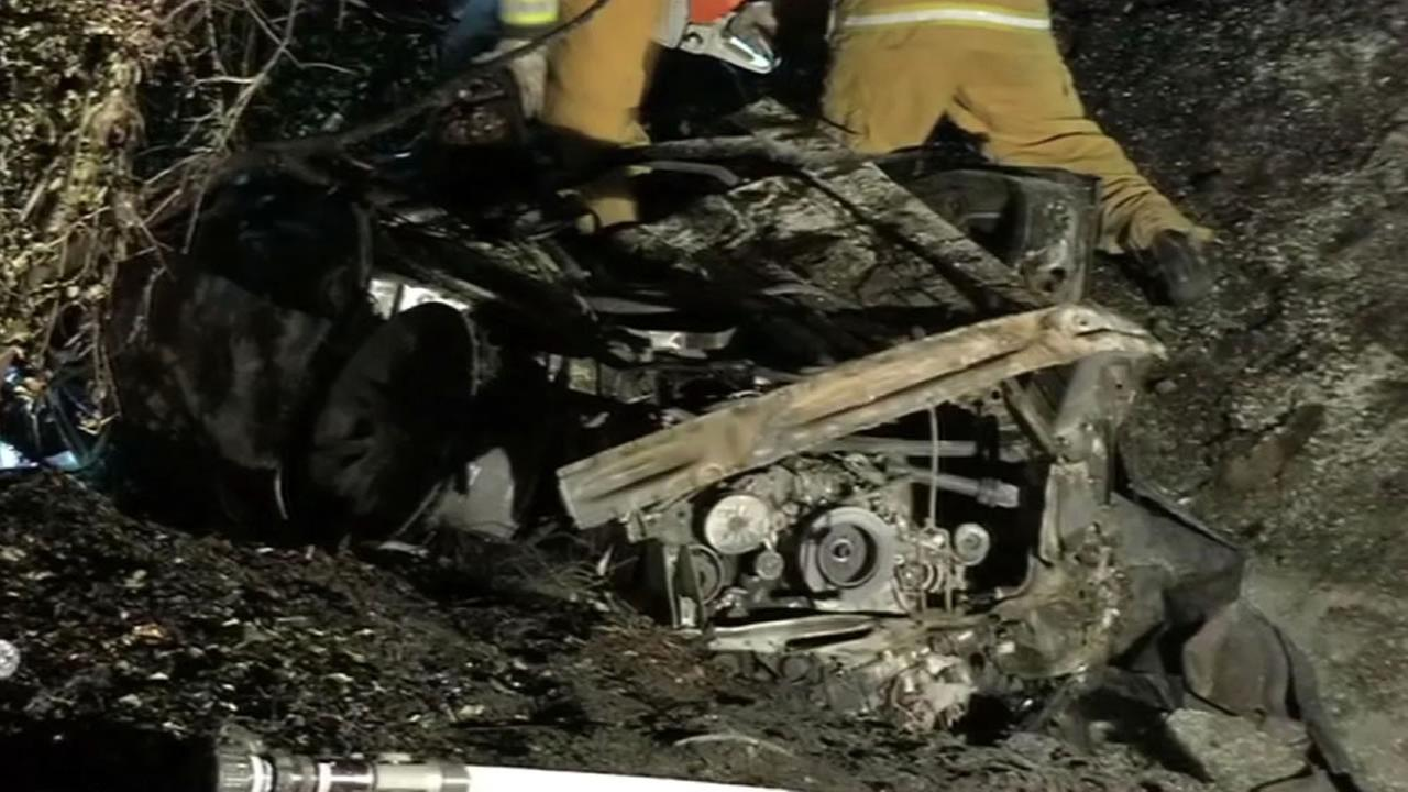 Burned car.