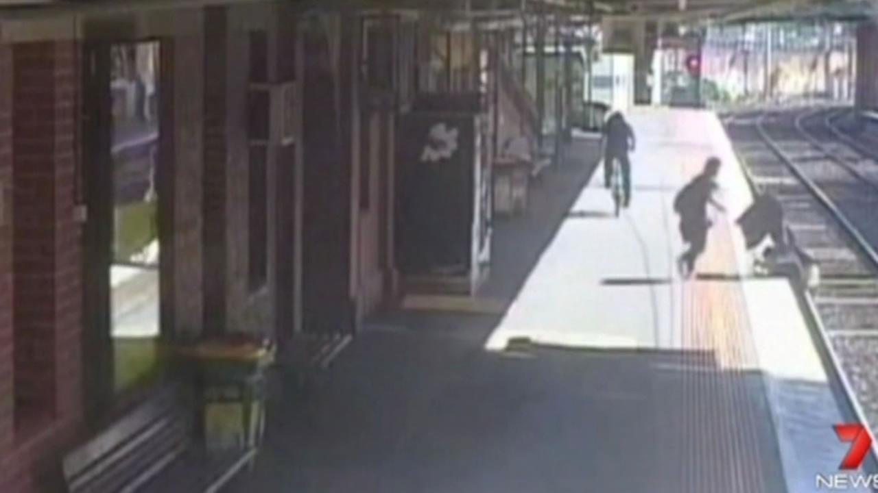 In Melbourne, Australia, a woman bent down to pick up an object on a train platform, but the stroller she was pushing kept going and landed on the tracks.