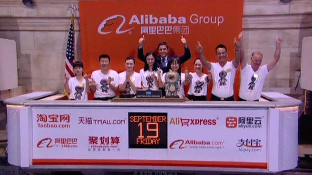 Chinas Alibaba surged 38 percent in its IPO debut on Friday.