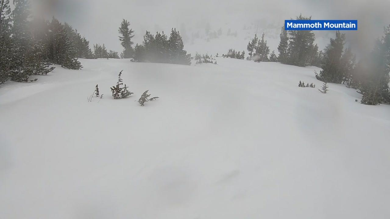 Heavy snow is seen at Mammoth Mountain Ski Resort in this undated image.