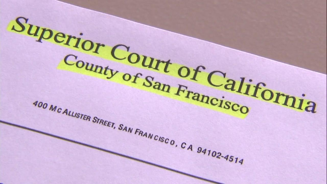 A court document from the San Francisco Superior Court is seen in this undated image.