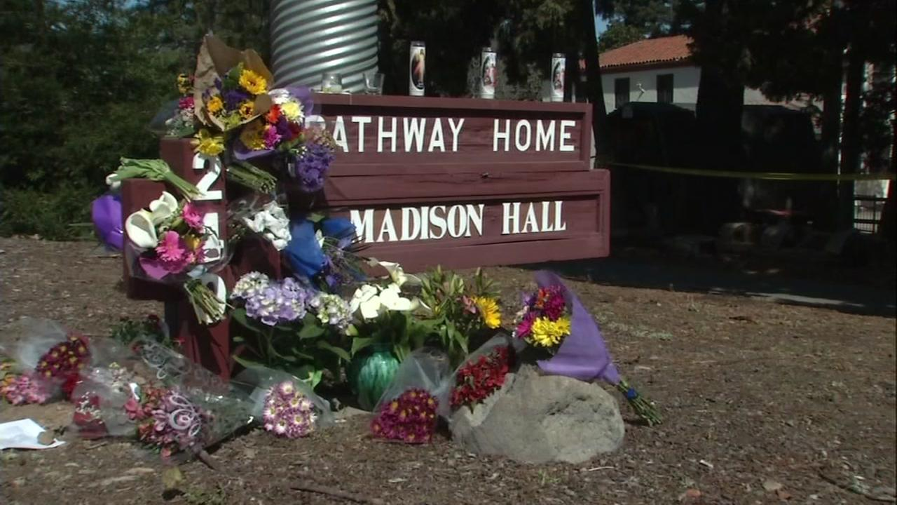 A memorial to three shooting victims is seen in Yountville, Calif. on Sunday, March 11, 2018.