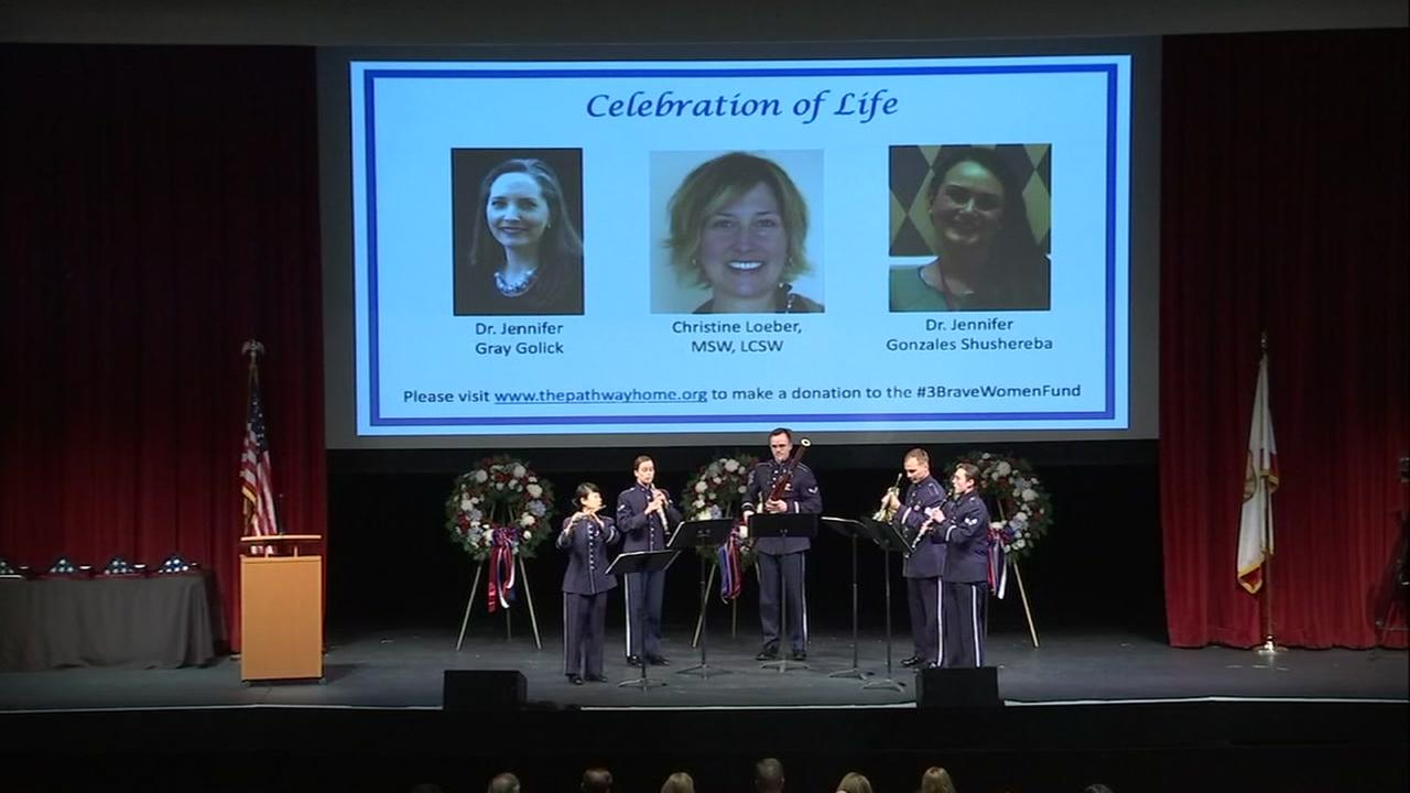 Tribute is paid to the three victims of the Yountville veterans home shooting in Yountville, Calif. on Monday, March 19, 2018.