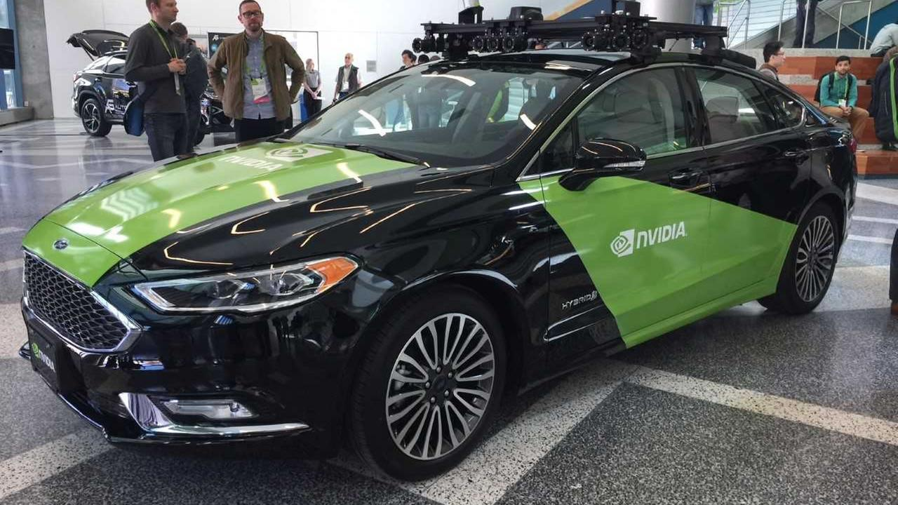 The Nivida self-driving model appears at a technology conference in San Jose, Calif. on Tuesday, March 27, 2018.