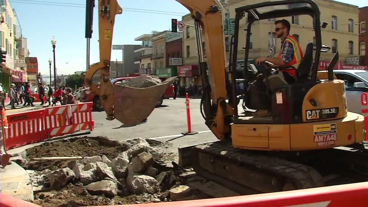 Construction vehicles appear in San Franciscos Chinatown on Thursday, March 29, 2018.