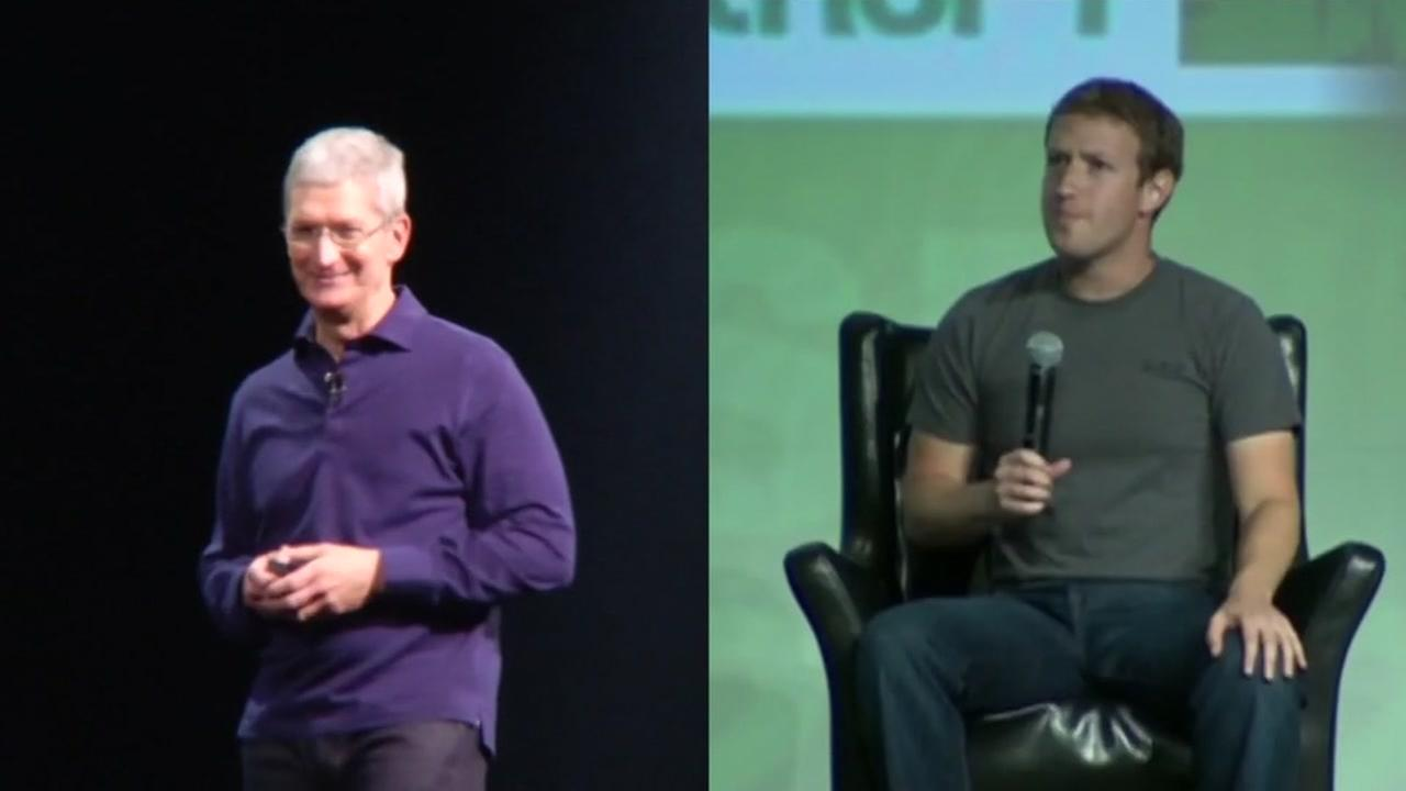 Apple CEO Tim Cook is seen on the left while Facebook CEO Mark Zuckerberg is seen on the right in these undated images.