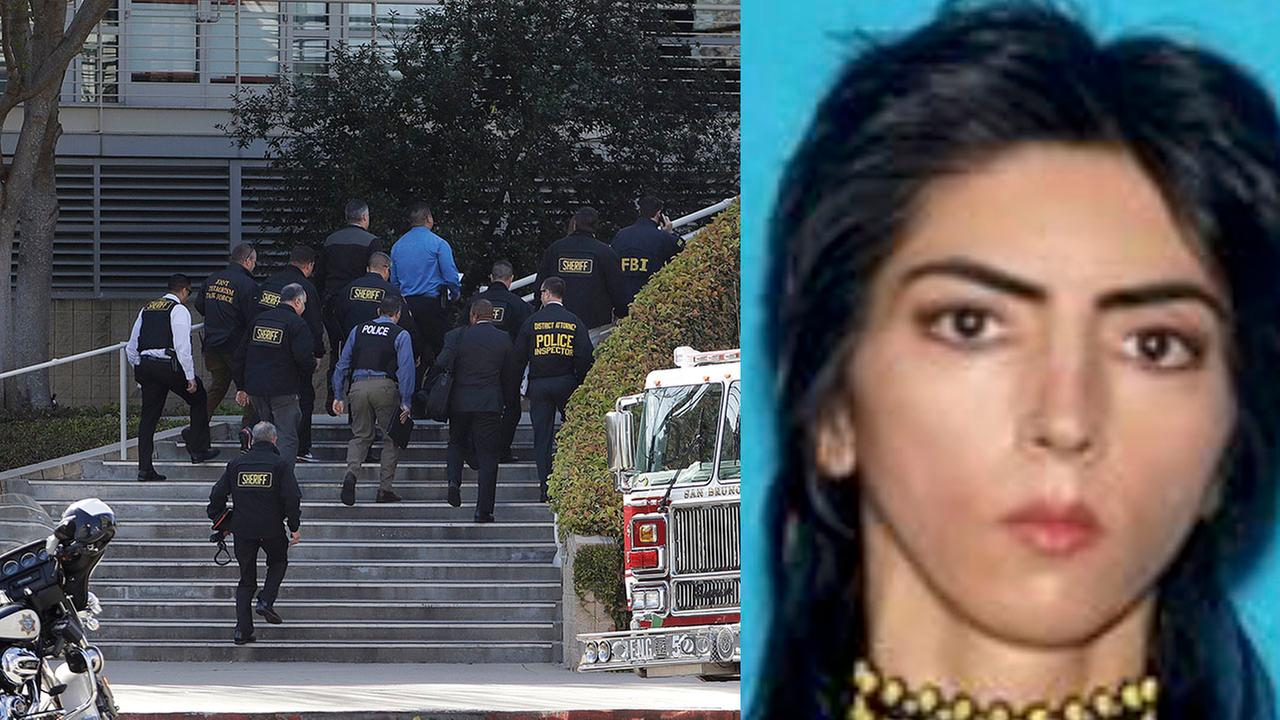 (Left) Police and FBI agents enter YouTube headquarters in San Bruno, California on Tuesday, April 4, 2018 and (right) file photo of YouTube shooting suspect Nasim Aghdam.