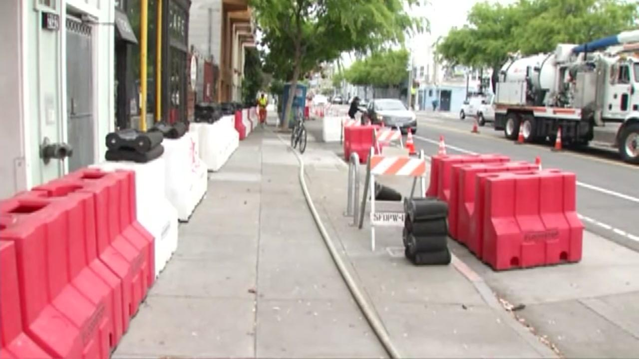 Flood barriers are seen in San Francisco, Calif. ahead of a storm on Thursday, April 5, 2018.