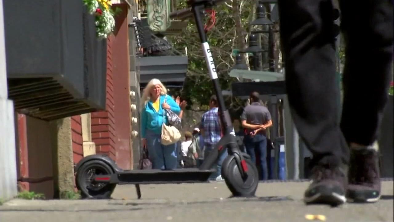 A motorized scooter is seen in San Francisco in this undated image.