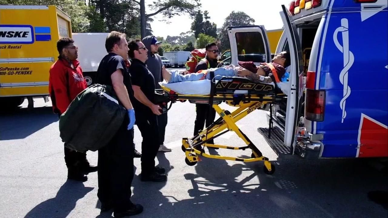 A person is being taken to a hospital during 4/20 festivities at Golden Gate Park in San Francisco, Calif. on Friday, April 20, 2018.