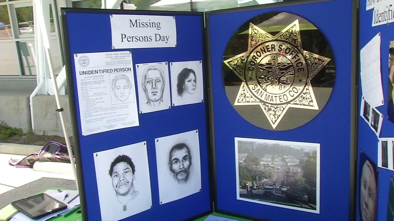 A sign for Missing Persons Day is seen during an event in San Carlos, Calif. on Saturday, April 21, 2018.