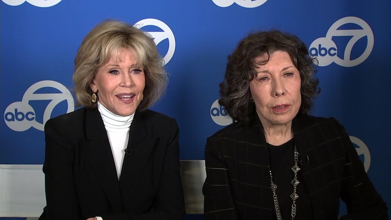 Jane Fonda and Lily Tomlin are interviewed by ABC7 News on Tuesday, April 24, 2018.
