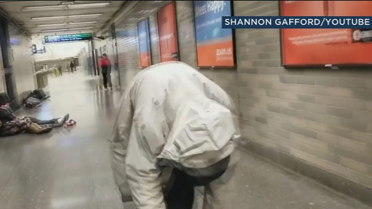 Undated photo shows alleged drug user at BART station in San Francisco.