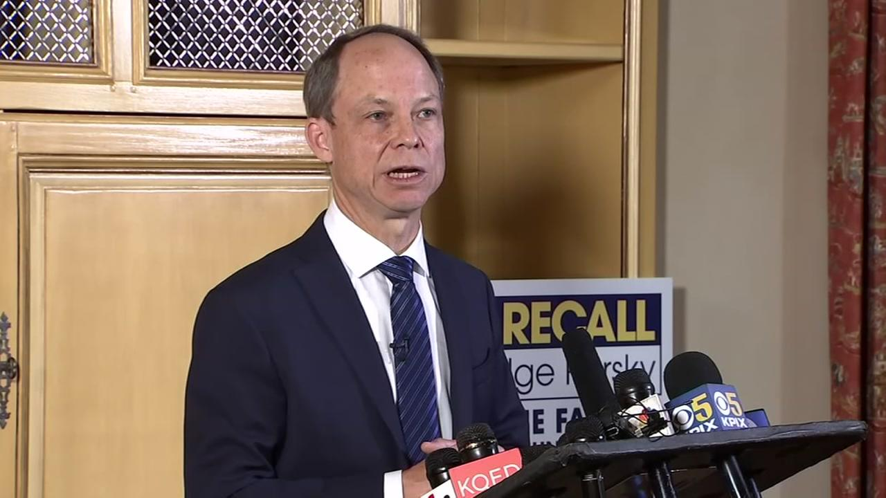 Judge Aaron Persky speaks in Palo Alto, Calif. amid recall effort on Tuesday, May 8, 2018.