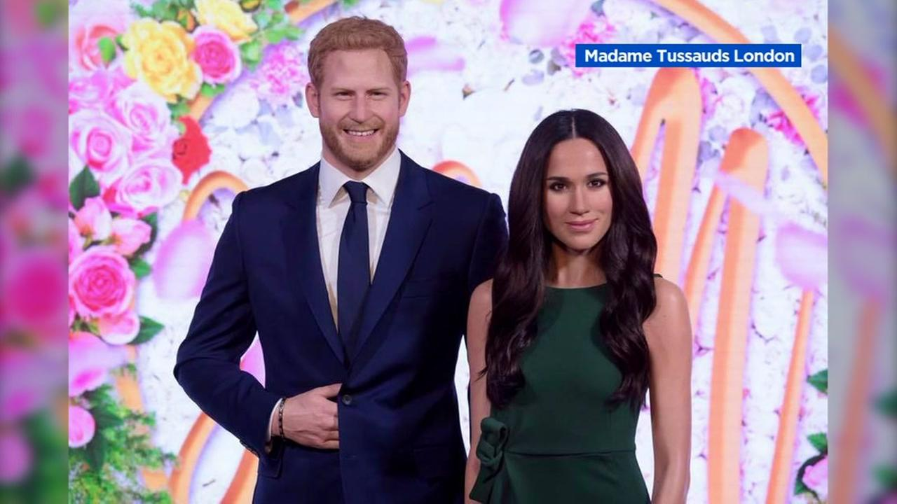 Meghan Markle and Prince Harry wax figures are seen at Madam Tussauds.