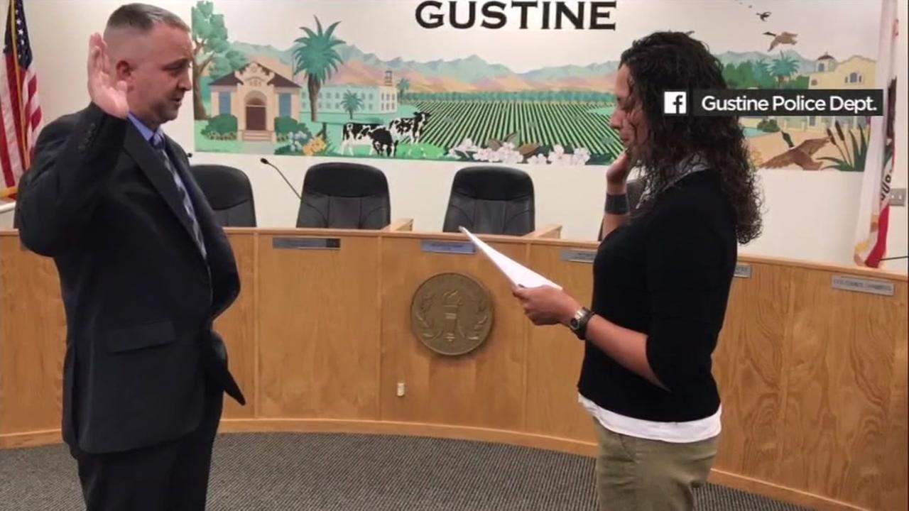 Shawn Osborne is sworn in at the Gustine Police Department in this image.