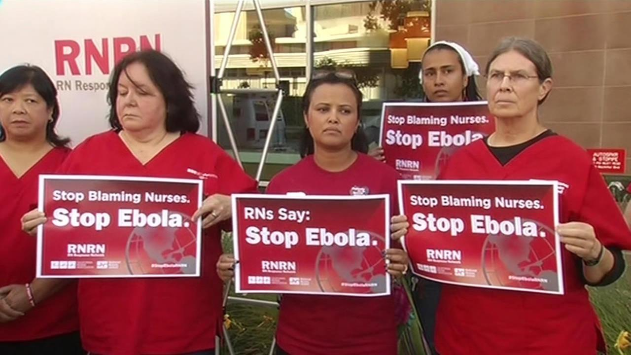 Bay Area nurses voice their concerns over Ebola outside Oakland hospital