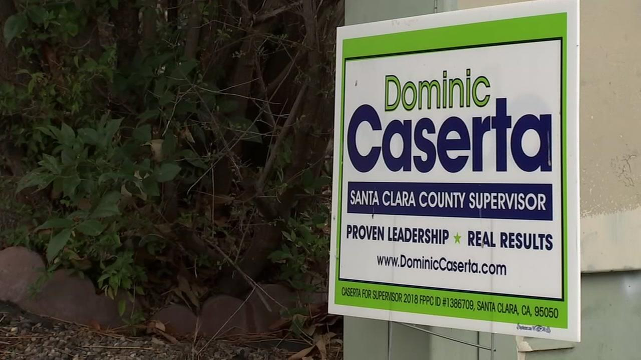 A campaign sign for Dominic Casera appears in Santa Clara County in this undated image.