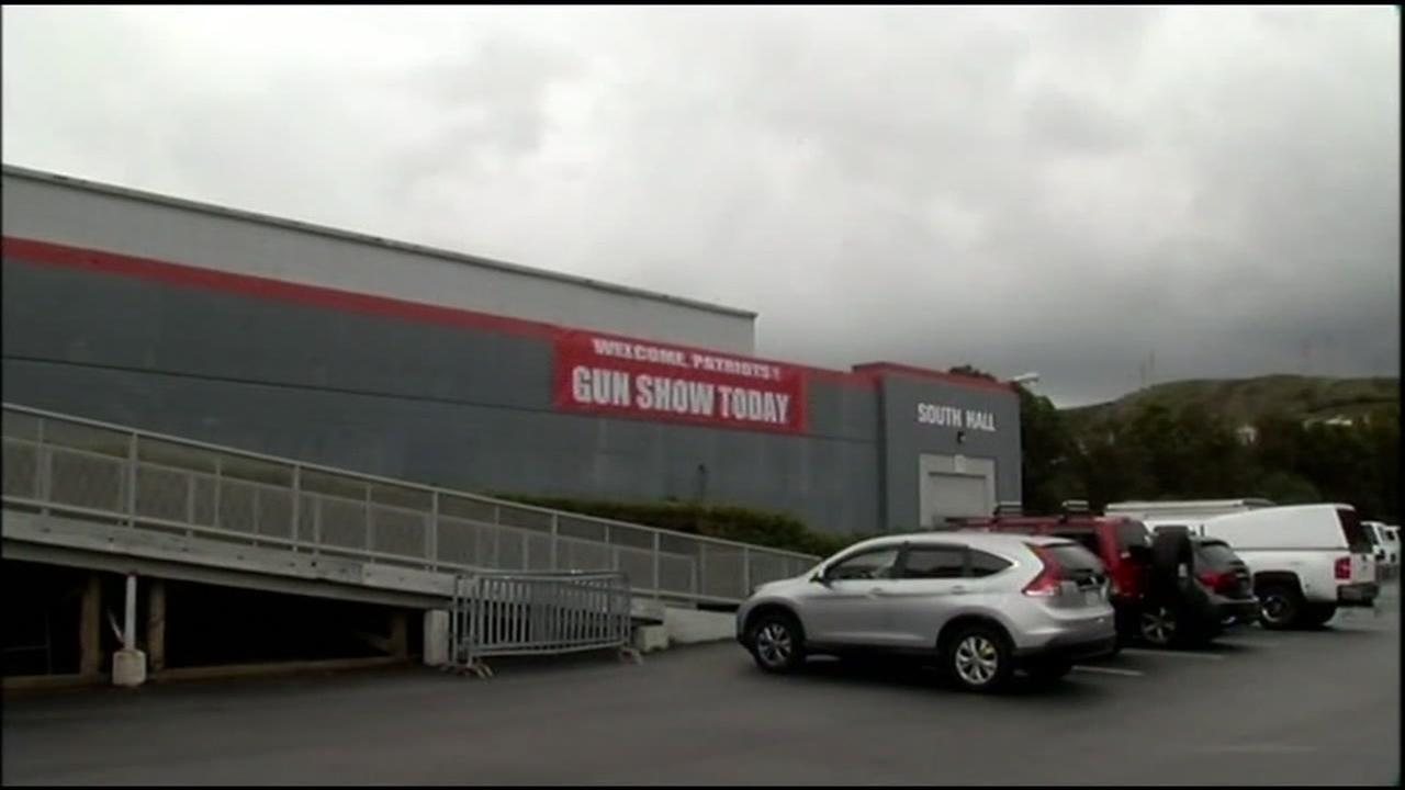 A sign for a gun show is seen on the Cow Palace in Daly City, Calif. in this undated image.