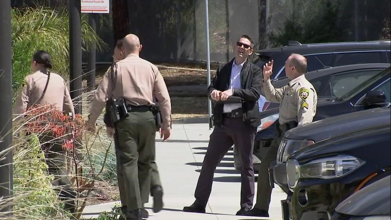 San Francisco County sheriffs deputies are seen near San Francisco General Hospital on Wednesday, May 31, 2018.